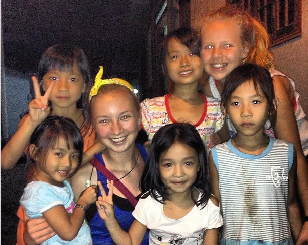 "From Evie – ""Best night so far! We ate dinner at a local family's house and were entertained by these adorable young girls! We sang songs, danced, gave piggyback rides and laughed all night! #nieceproject"""