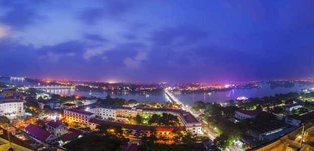 Hue at night viewed from over the Morin Hotel
